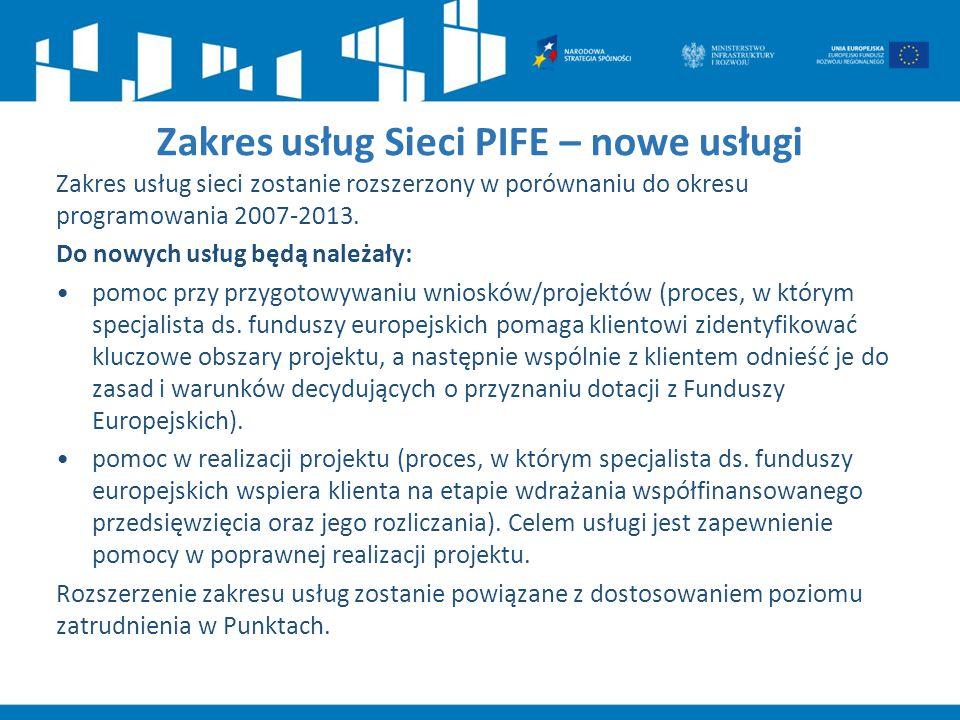 Zakres usług Sieci PIFE – nowe usługi Zakres usług sieci zostanie rozszerzony w porównaniu do okresu programowania 2007-2013. Do nowych usług będą nal