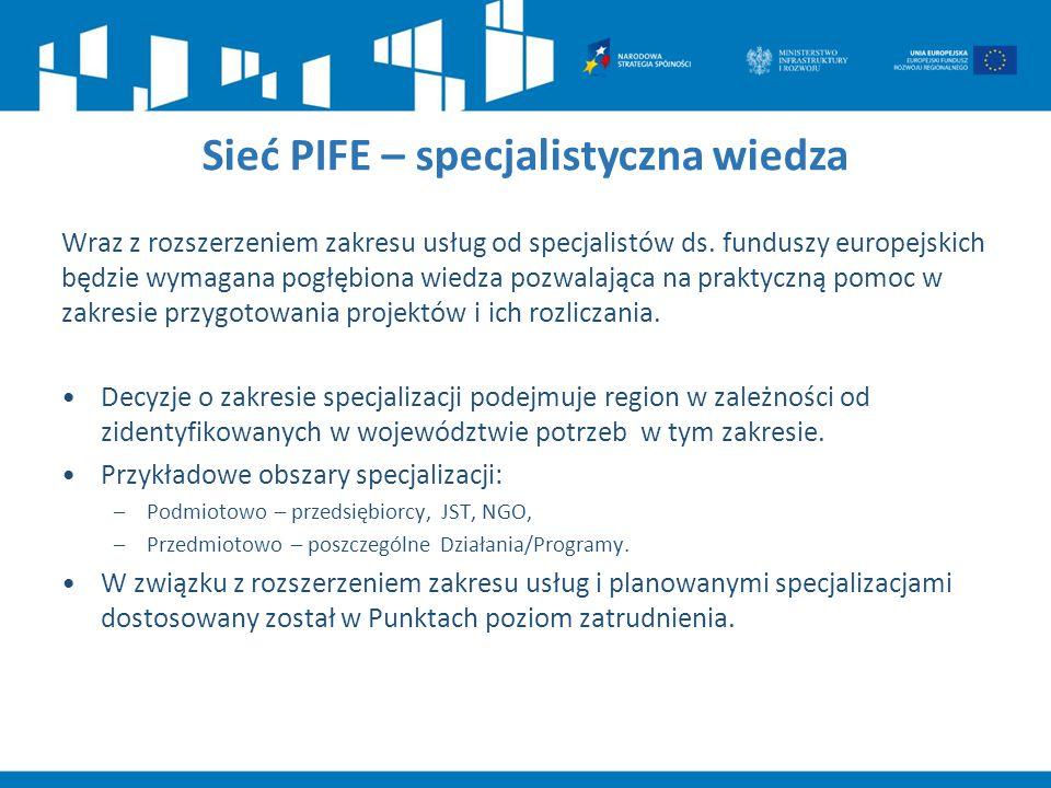 Sieć PIFE – specjalistyczna wiedza Wraz z rozszerzeniem zakresu usług od specjalistów ds. funduszy europejskich będzie wymagana pogłębiona wiedza pozw