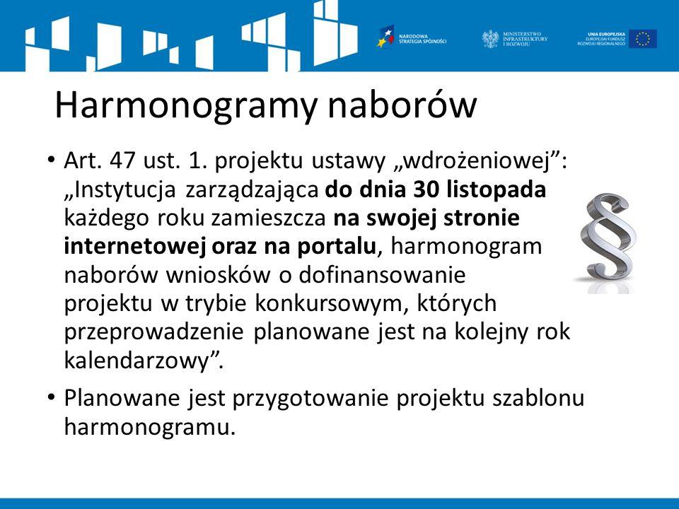 """Harmonogramy naborów Art. 47 ust. 1. projektu ustawy """"wdrożeniowej"""": """"Instytucja zarządzająca do dnia 30 listopada każdego roku zamieszcza na swojej s"""