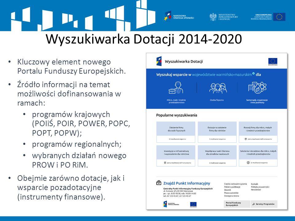 Wyszukiwarka Dotacji 2014-2020 Kluczowy element nowego Portalu Funduszy Europejskich. Źródło informacji na temat możliwości dofinansowania w ramach: p