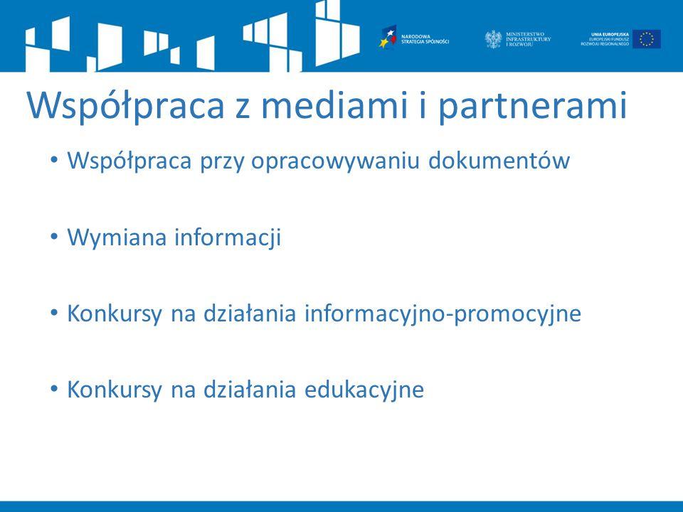 Współpraca z mediami i partnerami Współpraca przy opracowywaniu dokumentów Wymiana informacji Konkursy na działania informacyjno-promocyjne Konkursy n