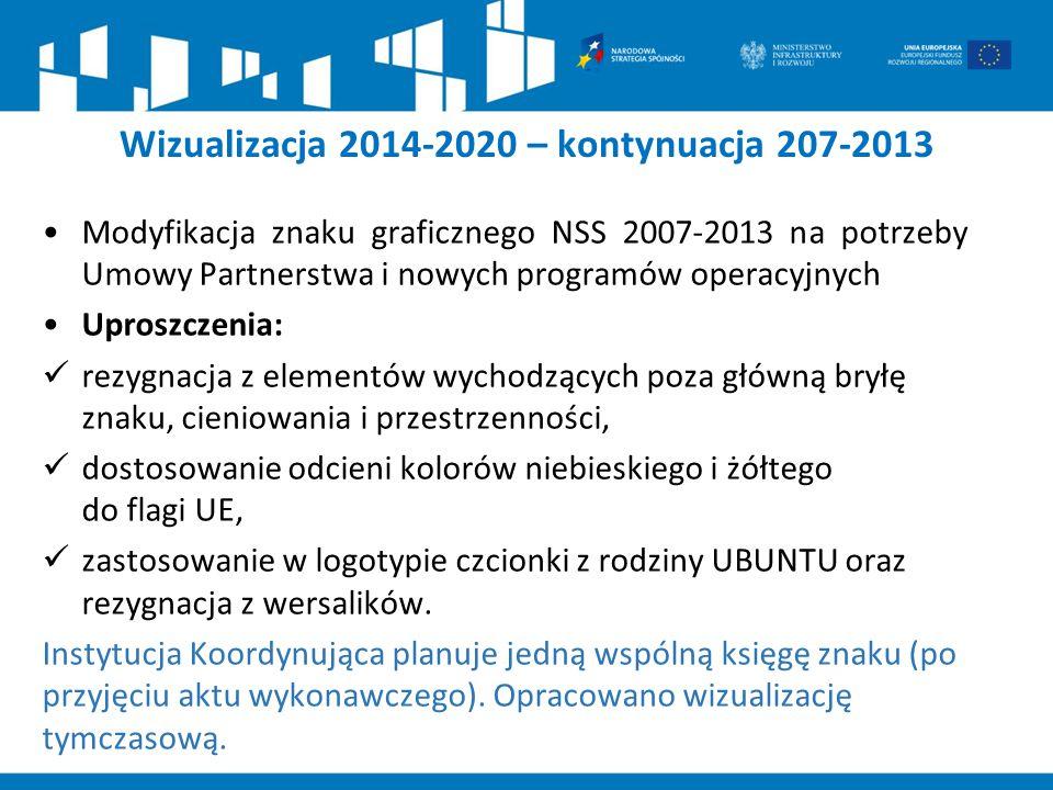 Modyfikacja znaku graficznego NSS 2007-2013 na potrzeby Umowy Partnerstwa i nowych programów operacyjnych Uproszczenia: rezygnacja z elementów wychodz