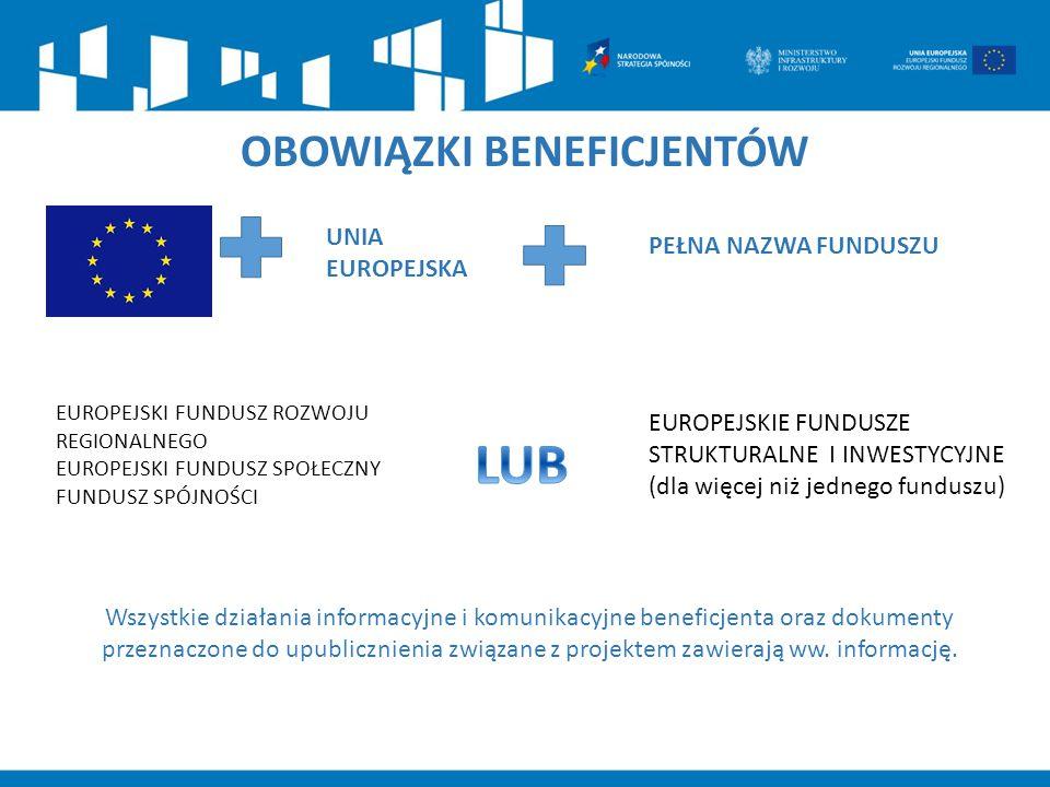 OBOWIĄZKI BENEFICJENTÓW EUROPEJSKI FUNDUSZ ROZWOJU REGIONALNEGO EUROPEJSKI FUNDUSZ SPOŁECZNY FUNDUSZ SPÓJNOŚCI Wszystkie działania informacyjne i komu