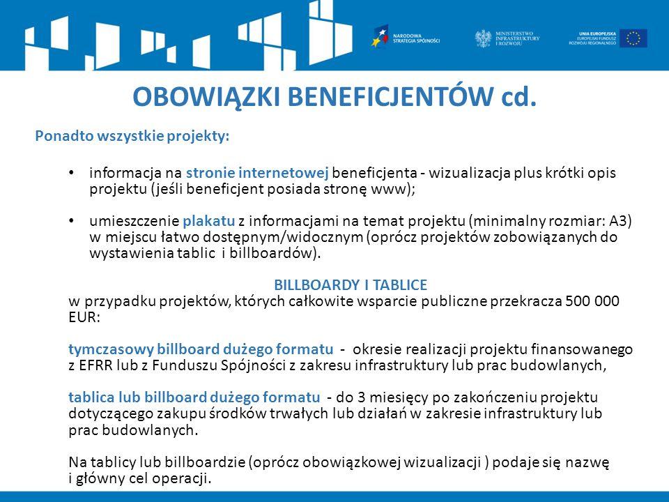 OBOWIĄZKI BENEFICJENTÓW cd. Ponadto wszystkie projekty: informacja na stronie internetowej beneficjenta - wizualizacja plus krótki opis projektu (jeśl