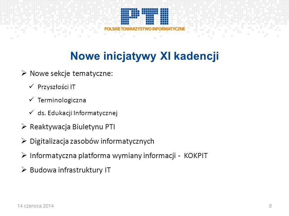 Nowe inicjatywy XI kadencji  Nowe sekcje tematyczne: Przyszłości IT Terminologiczna ds.