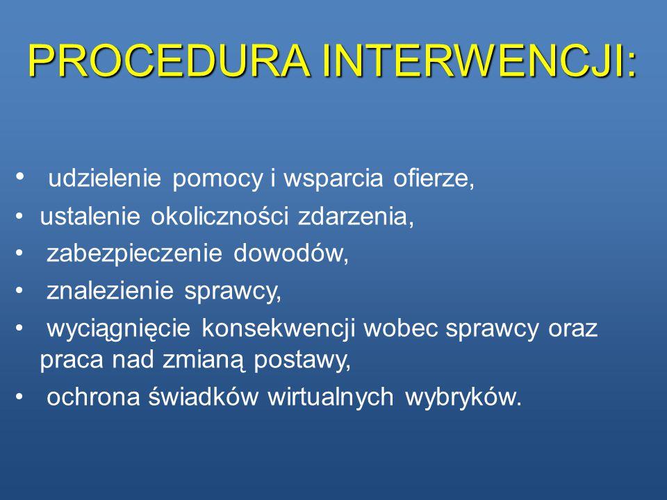 PROCEDURA INTERWENCJI: udzielenie pomocy i wsparcia ofierze, ustalenie okoliczności zdarzenia, zabezpieczenie dowodów, znalezienie sprawcy, wyciągnięc