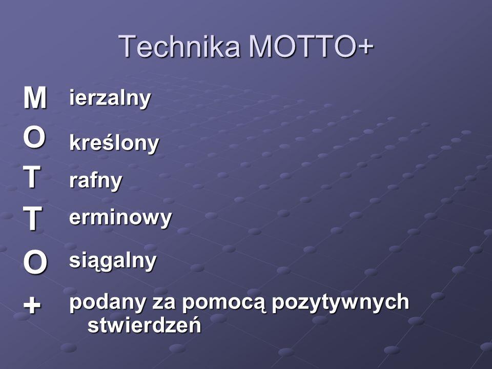 Technika MOTTO+ MOTTO+ ierzalnykreślonyrafnyerminowysiągalny podany za pomocą pozytywnych stwierdzeń