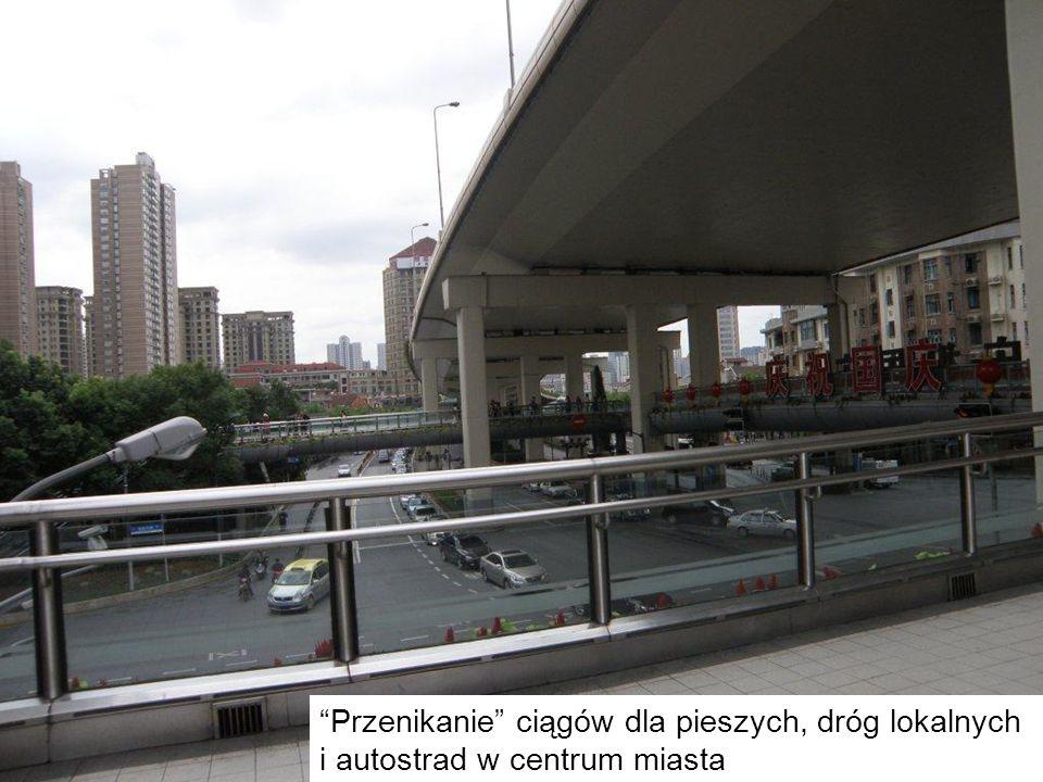 Przenikanie ciągów dla pieszych, dróg lokalnych i autostrad w centrum miasta