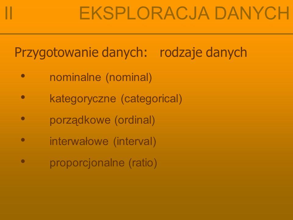 Przygotowanie danych: rodzaje danych II EKSPLORACJA DANYCH nominalne (nominal) proporcjonalne (ratio) interwałowe (interval) porządkowe (ordinal) kategoryczne (categorical)