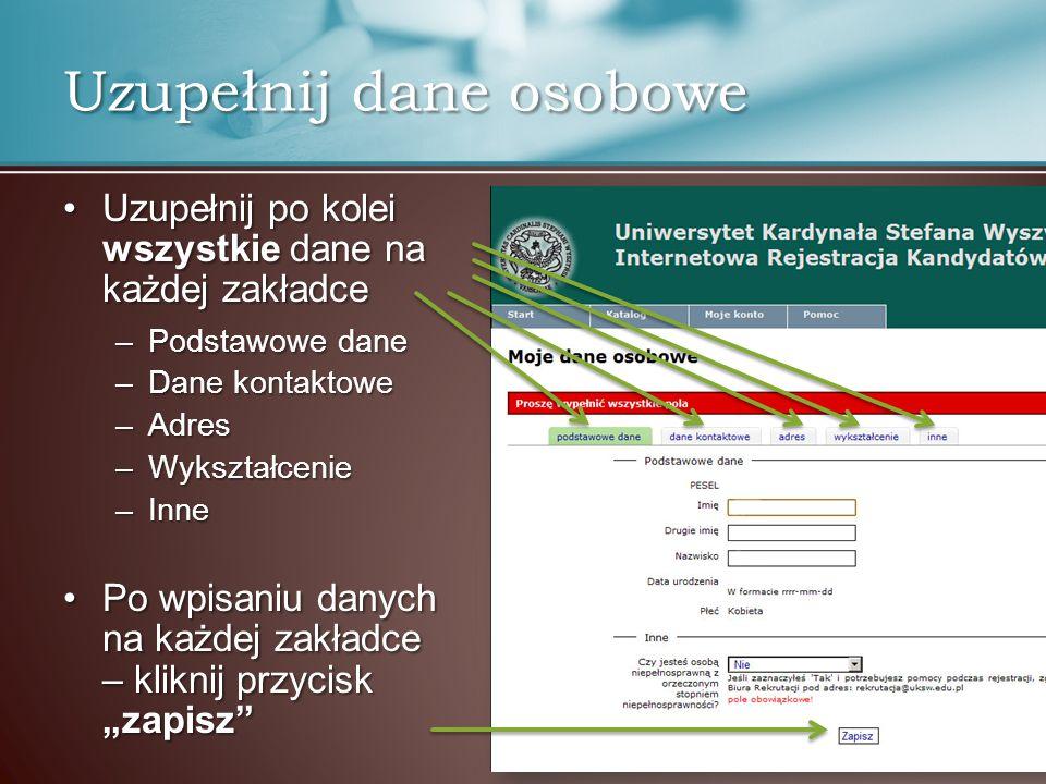 Po uzupełnieniu wszystkich wymaganych danych, podświetlenia kolejnych kroków zmieniają barwę na zielonąPo uzupełnieniu wszystkich wymaganych danych, podświetlenia kolejnych kroków zmieniają barwę na zieloną Przejdź do uzupełniania kolejnego, czerwonego krokuPrzejdź do uzupełniania kolejnego, czerwonego kroku Rejestracja krok po kroku