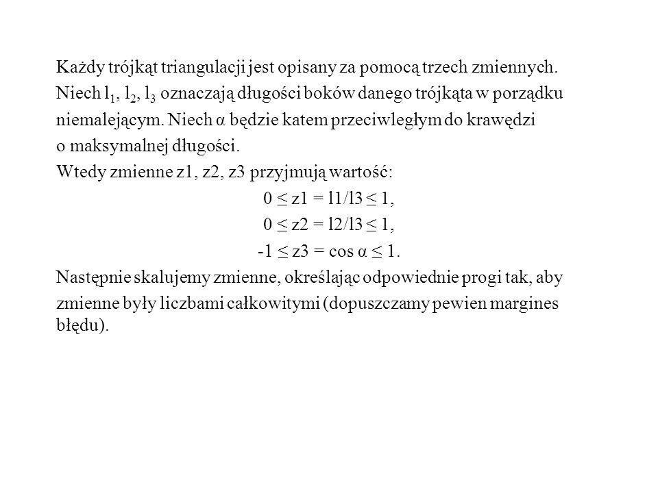 Każdy trójkąt triangulacji jest opisany za pomocą trzech zmiennych. Niech l 1, l 2, l 3 oznaczają długości boków danego trójkąta w porządku niemalejąc