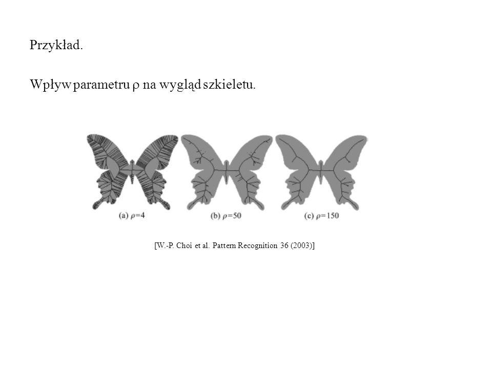 Przykład. Wpływ parametru  na wygląd szkieletu. [W.-P. Choi et al. Pattern Recognition 36 (2003)]