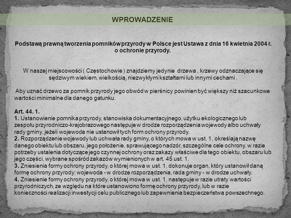 Lokalizacja: województwo - śląskie gmina - Częstochowa miejscowość - Częstochowa nr mapy ewidencyjnej - 362 nr działki - 50 bliższe określenie położenia – Park przy ul.