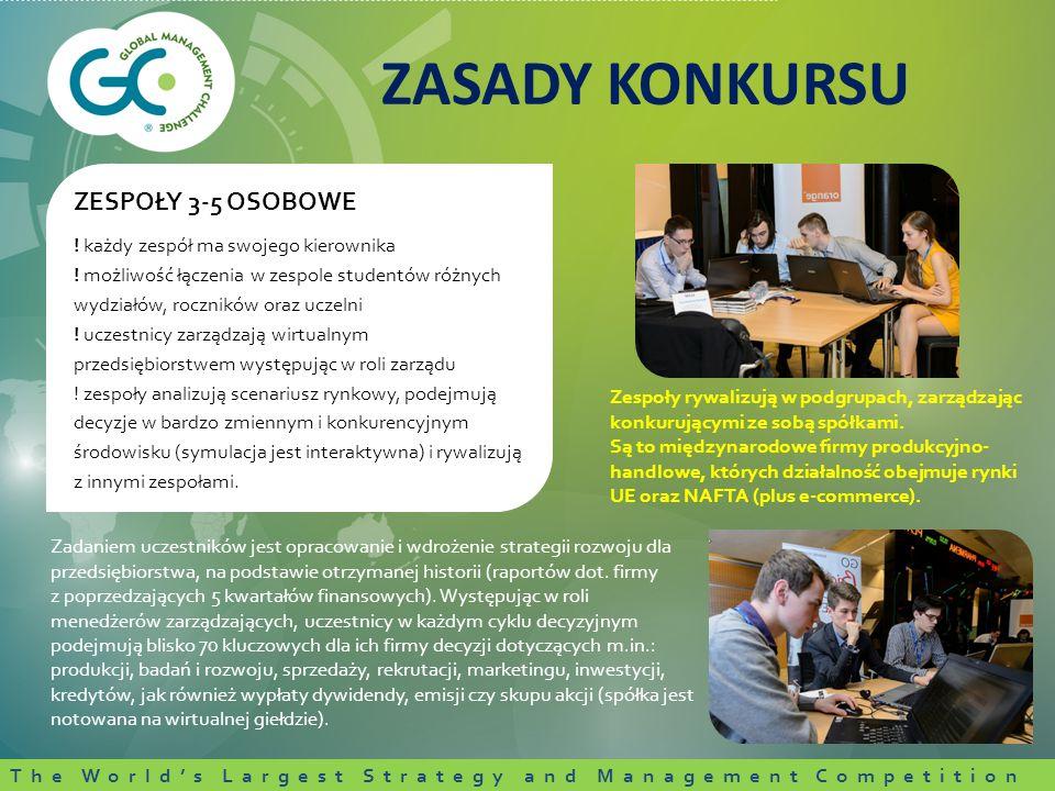 Zadaniem uczestników jest opracowanie i wdrożenie strategii rozwoju dla przedsiębiorstwa, na podstawie otrzymanej historii (raportów dot.