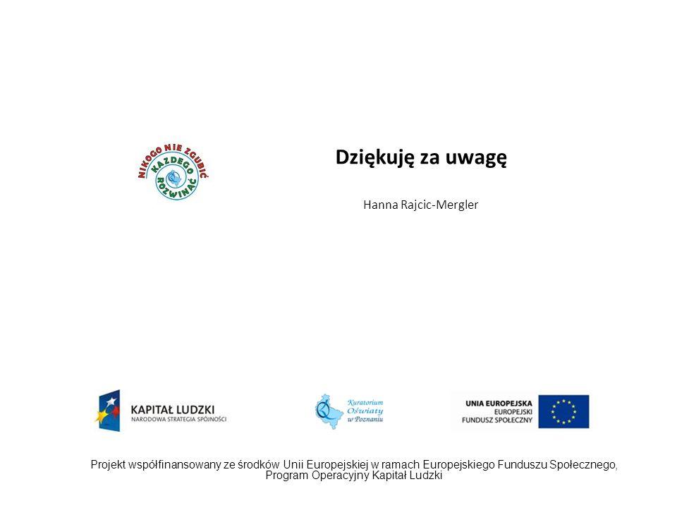 Dziękuję za uwagę Hanna Rajcic-Mergler Projekt współfinansowany ze środków Unii Europejskiej w ramach Europejskiego Funduszu Społecznego, Program Oper