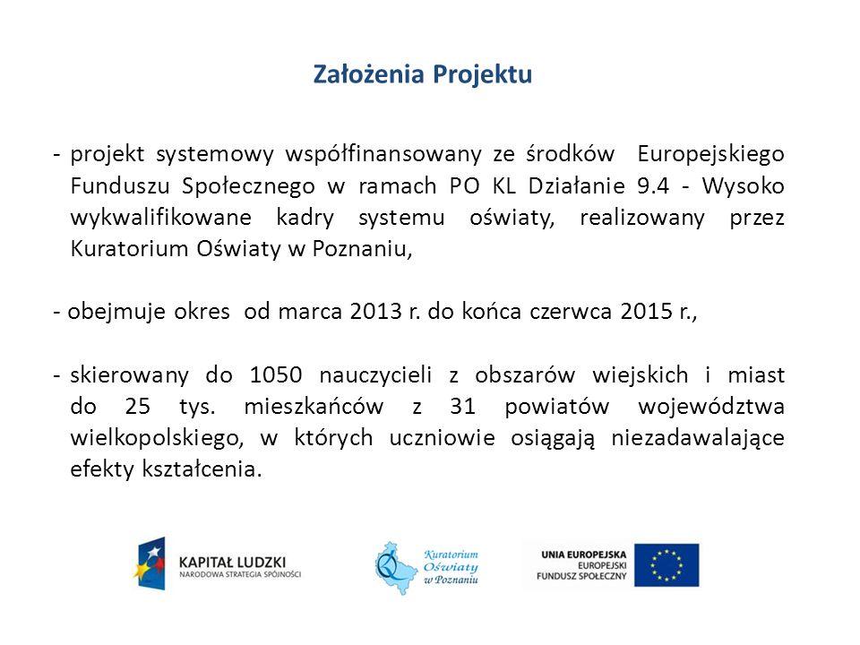 Założenia Projektu -projekt systemowy współfinansowany ze środków Europejskiego Funduszu Społecznego w ramach PO KL Działanie 9.4 - Wysoko wykwalifiko