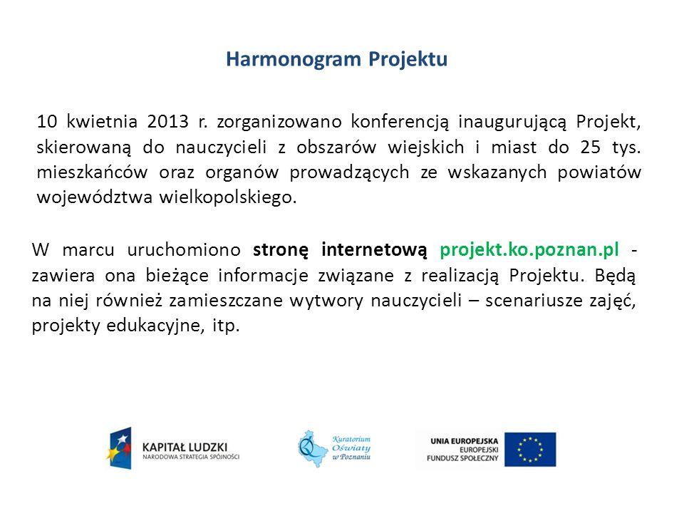 Harmonogram Projektu W marcu uruchomiono stronę internetową projekt.ko.poznan.pl - zawiera ona bieżące informacje związane z realizacją Projektu. Będą