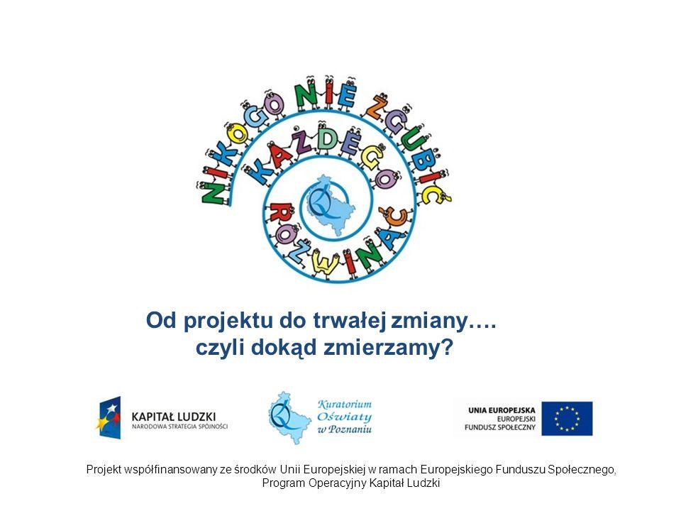 Projekt współfinansowany ze środków Unii Europejskiej w ramach Europejskiego Funduszu Społecznego, Program Operacyjny Kapitał Ludzki Od projektu do trwałej zmiany….