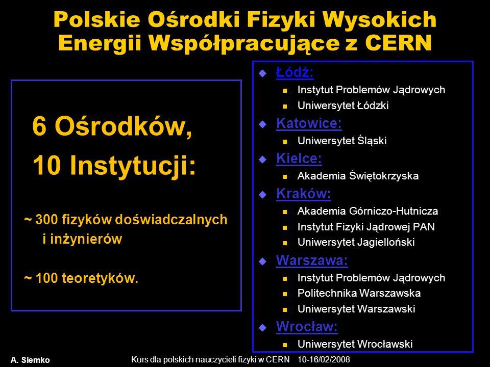 Kurs dla polskich nauczycieli fizyki w CERN 10-16/02/2008 Polskie Ośrodki Fizyki Wysokich Energii Współpracujące z CERN  Łódź: Instytut Problemów Jąd
