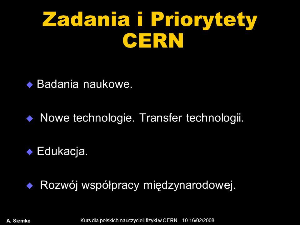 Kurs dla polskich nauczycieli fizyki w CERN 10-16/02/2008 A. Siemko Zadania i Priorytety CERN  Badania naukowe.  Nowe technologie. Transfer technolo
