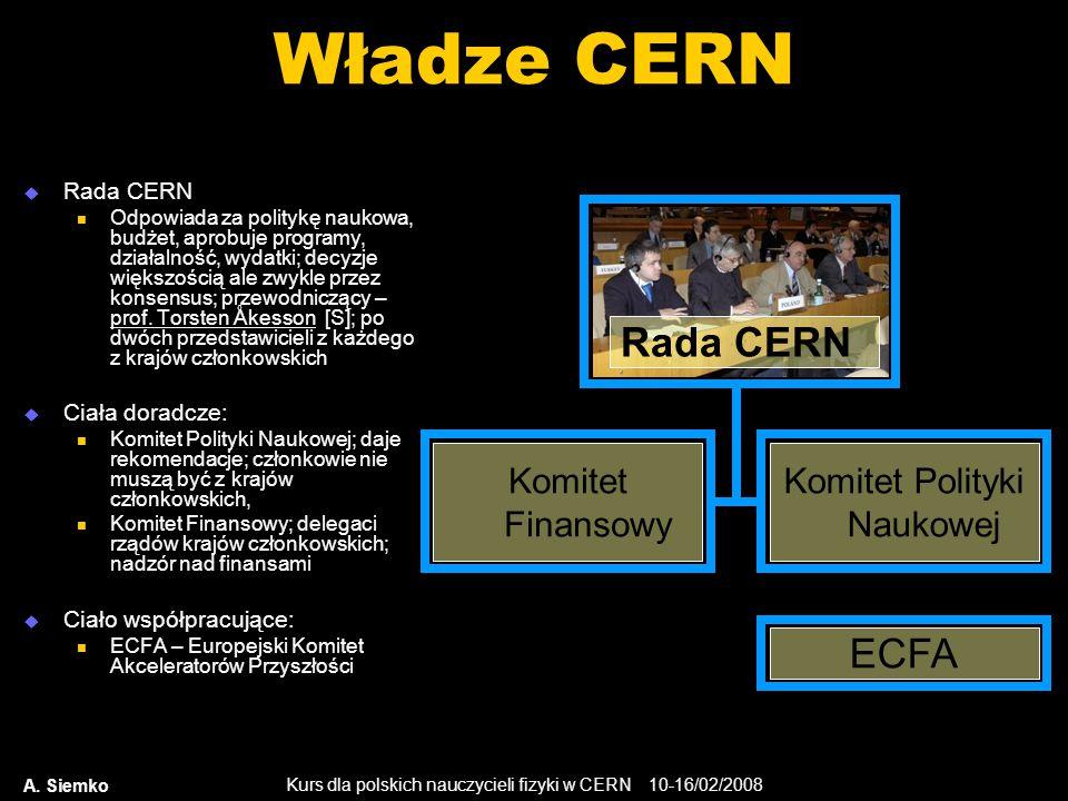 Kurs dla polskich nauczycieli fizyki w CERN 10-16/02/2008 A. Siemko Władze CERN  Rada CERN Odpowiada za politykę naukowa, budżet, aprobuje programy,