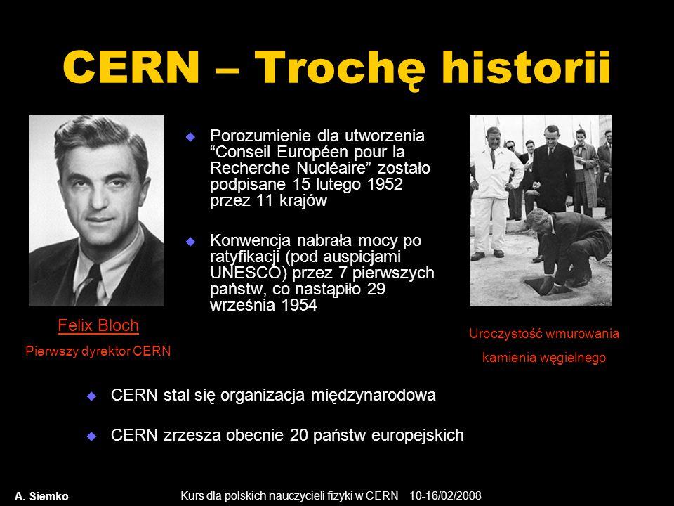 """Kurs dla polskich nauczycieli fizyki w CERN 10-16/02/2008 A. Siemko CERN – Trochę historii  Porozumienie dla utworzenia """"Conseil Européen pour la Rec"""
