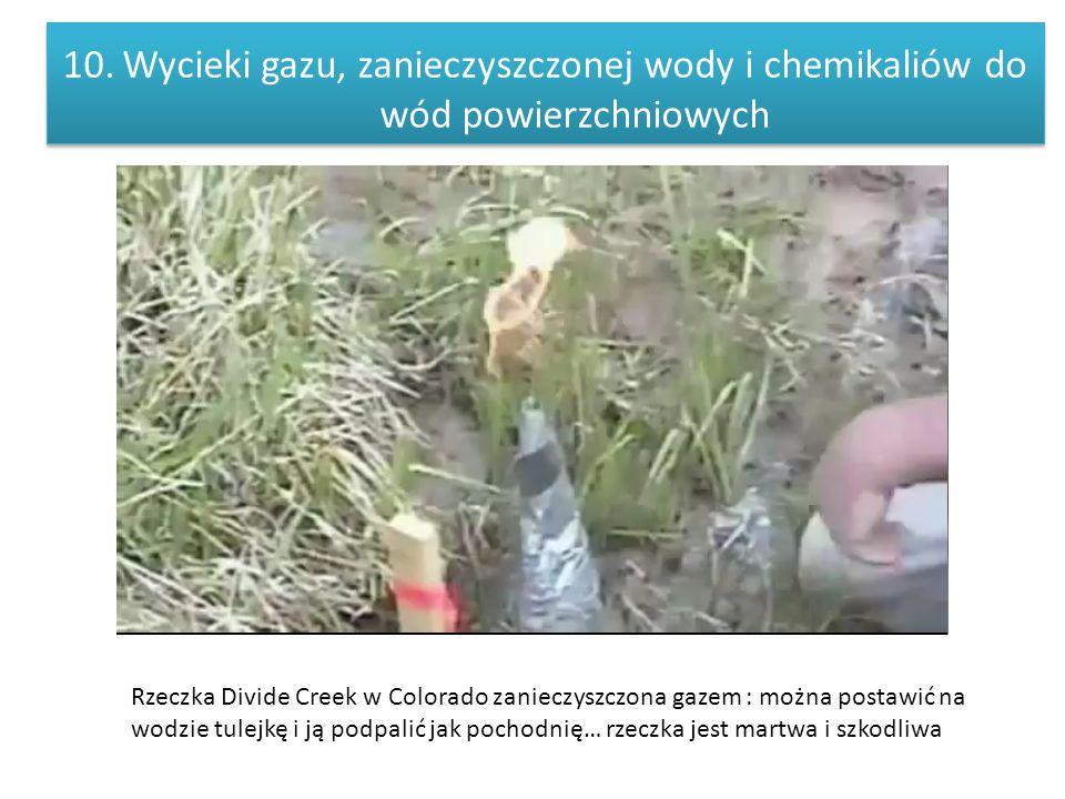 10.Wycieki gazu, zanieczyszczonej wody i chemikaliów do wód powierzchniowych Rzeczka Divide Creek w Colorado zanieczyszczona gazem : można postawić na