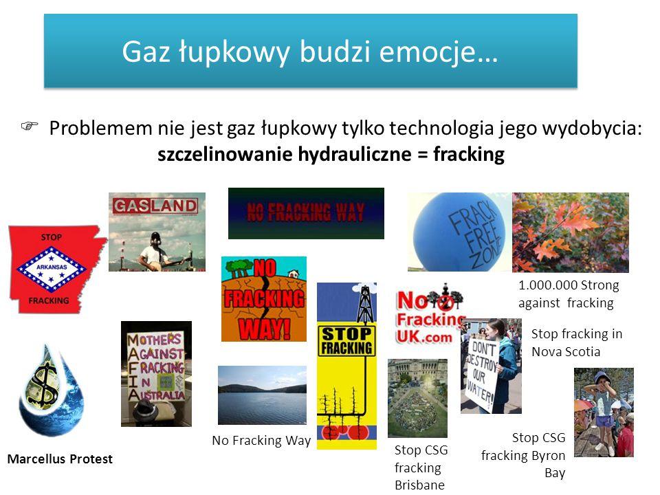 Gaz łupkowy budzi emocje…  Problemem nie jest gaz łupkowy tylko technologia jego wydobycia: szczelinowanie hydrauliczne = fracking Marcellus Protest