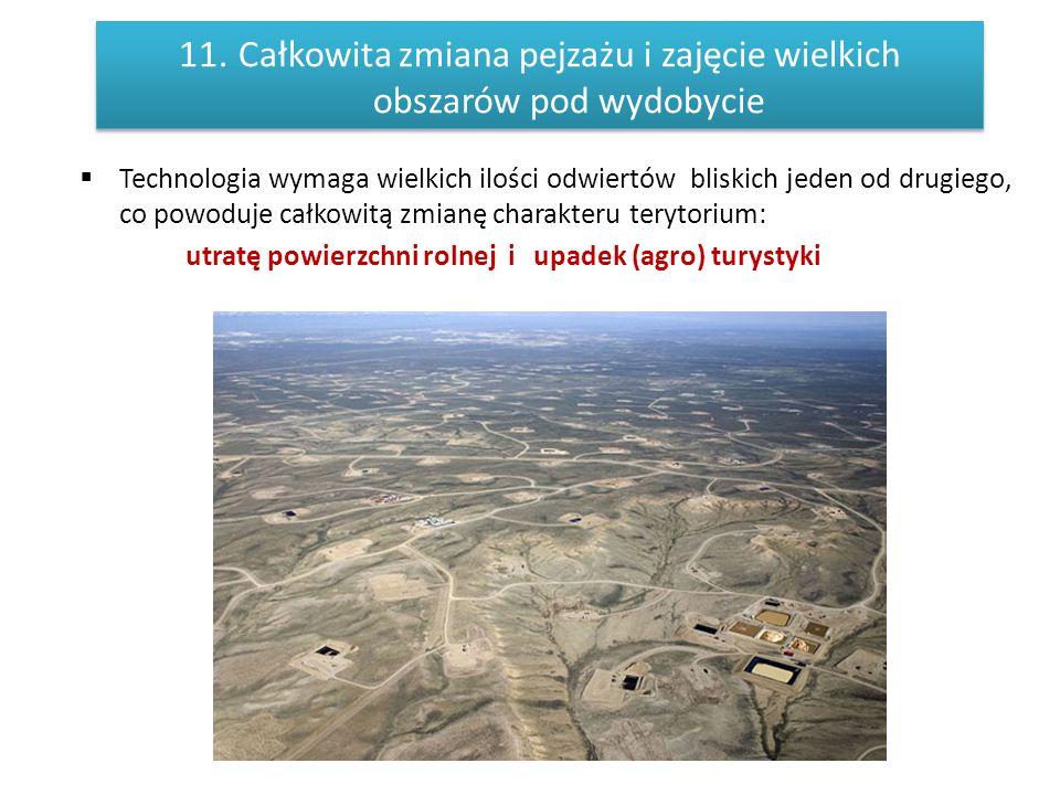 11.Całkowita zmiana pejzażu i zajęcie wielkich obszarów pod wydobycie  Technologia wymaga wielkich ilości odwiertów bliskich jeden od drugiego, co po