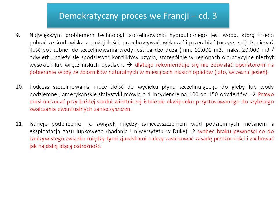 Demokratyczny proces we Francji – cd. 3 9.Największym problemem technologii szczelinowania hydraulicznego jest woda, którą trzeba pobrać ze środowiska
