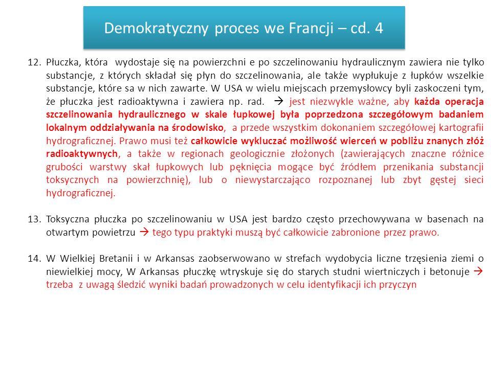 Demokratyczny proces we Francji – cd. 4 12.Płuczka, która wydostaje się na powierzchni e po szczelinowaniu hydraulicznym zawiera nie tylko substancje,