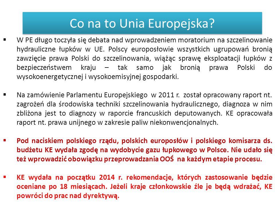 Co na to Unia Europejska?  W PE długo toczyła się debata nad wprowadzeniem moratorium na szczelinowanie hydrauliczne łupków w UE. Polscy europosłowie