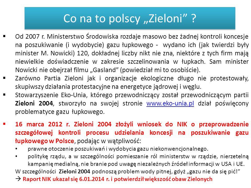 """Co na to polscy """"Zieloni"""" ?  Od 2007 r. Ministerstwo Środowiska rozdaje masowo bez żadnej kontroli koncesje na poszukiwanie (i wydobycie) gazu łupkow"""