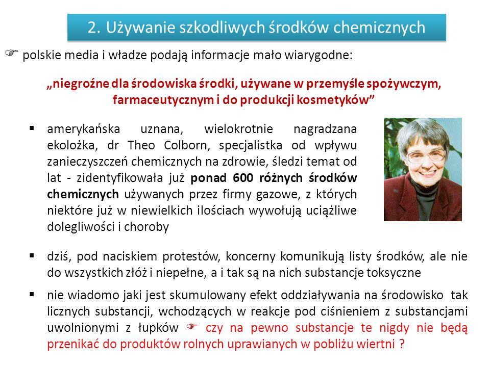 """ polskie media i władze podają informacje mało wiarygodne: """"niegroźne dla środowiska środki, używane w przemyśle spożywczym, farmaceutycznym i do pro"""