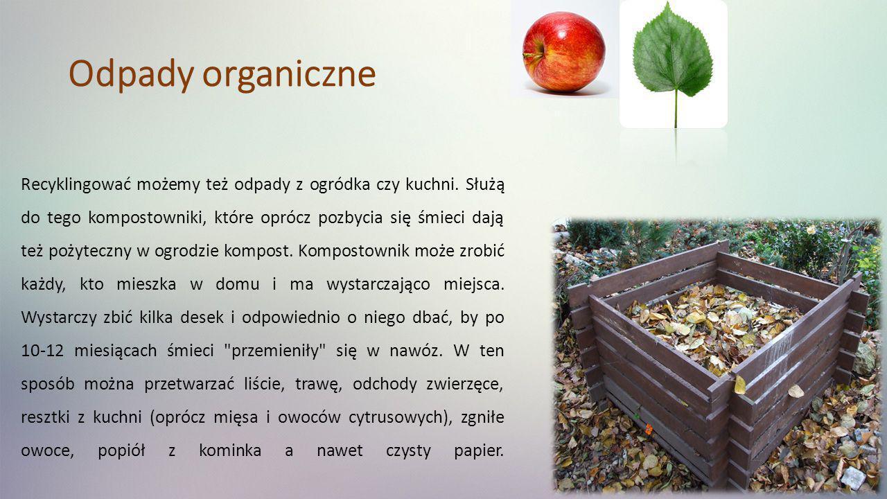 Odpady organiczne Recyklingować możemy też odpady z ogródka czy kuchni. Służą do tego kompostowniki, które oprócz pozbycia się śmieci dają też pożytec