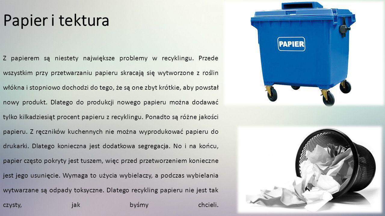 Papier i tektura Z papierem są niestety największe problemy w recyklingu. Przede wszystkim przy przetwarzaniu papieru skracają się wytworzone z roślin
