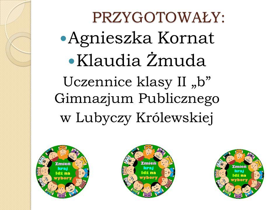 """PRZYGOTOWAŁY: Agnieszka Kornat Klaudia Żmuda Uczennice klasy II """"b"""" Gimnazjum Publicznego w Lubyczy Królewskiej"""