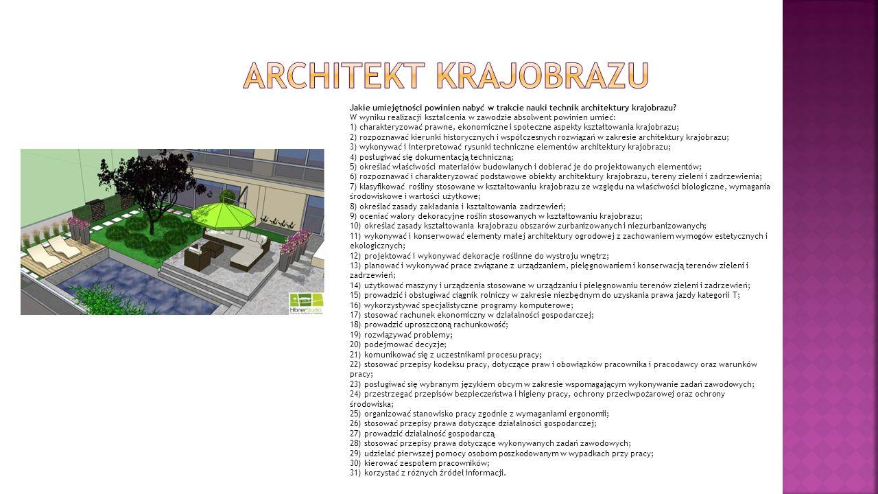 Jakie umiejętności powinien nabyć w trakcie nauki technik architektury krajobrazu? W wyniku realizacji kształcenia w zawodzie absolwent powinien umieć