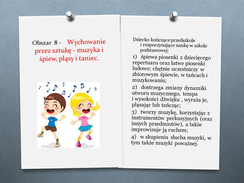 Obszar 7 - Wychowanie przez sztukę - dziecko widzem i aktorem. Dziecko kończące przedszkole i rozpoczynające naukę w szkole podstawowej: 1) wie, jak n