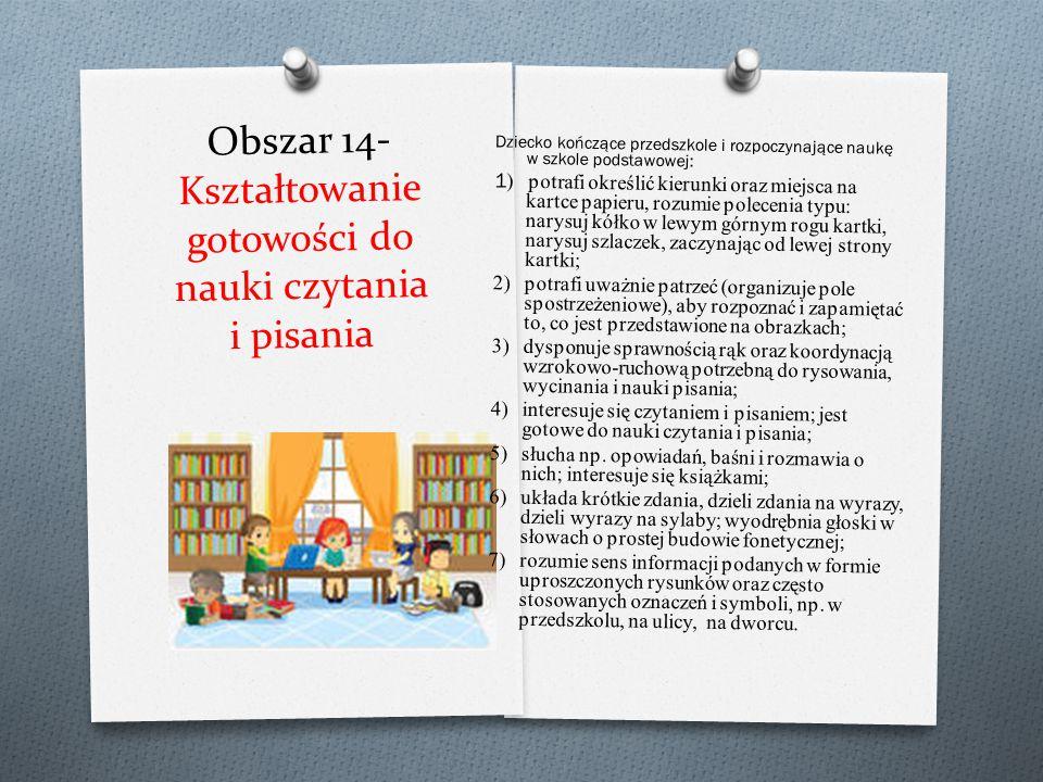 Obszar 13- Wspomaganie rozwoju intelektualnego dzieci wraz z edukacją matematyczną Dziecko kończące przedszkole i rozpoczynające naukę w szkole podsta