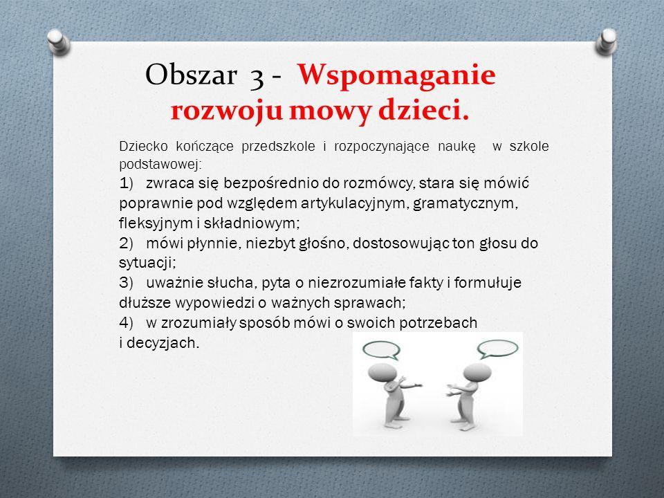 Obszar 2 - Kształtowanie czynności samoobsługowych, nawyków higienicznych i kulturalnych.