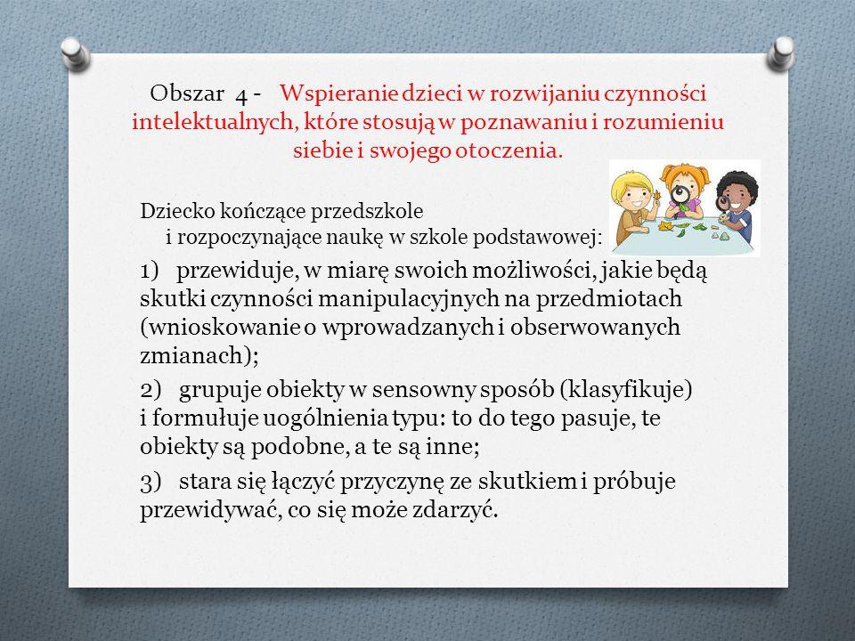 Obszar 3 - Wspomaganie rozwoju mowy dzieci. Dziecko kończące przedszkole i rozpoczynające naukę w szkole podstawowej: 1) zwraca się bezpośrednio do ro