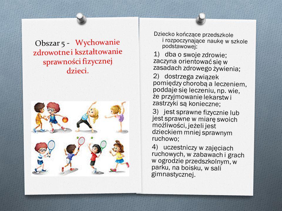 Obszar 4 - Wspieranie dzieci w rozwijaniu czynności intelektualnych, które stosują w poznawaniu i rozumieniu siebie i swojego otoczenia. Dziecko kończ