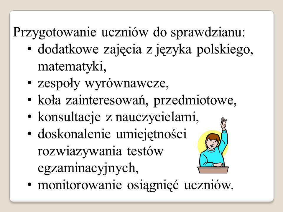 Przygotowanie uczniów do sprawdzianu: dodatkowe zajęcia z języka polskiego, matematyki, zespoły wyrównawcze, koła zainteresowań, przedmiotowe, konsultacje z nauczycielami, doskonalenie umiejętności rozwiazywania testów egzaminacyjnych, monitorowanie osiągnięć uczniów.