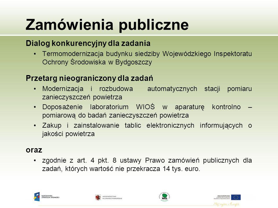 Zamówienia publiczne Dialog konkurencyjny dla zadania Termomodernizacja budynku siedziby Wojewódzkiego Inspektoratu Ochrony Środowiska w Bydgoszczy Pr