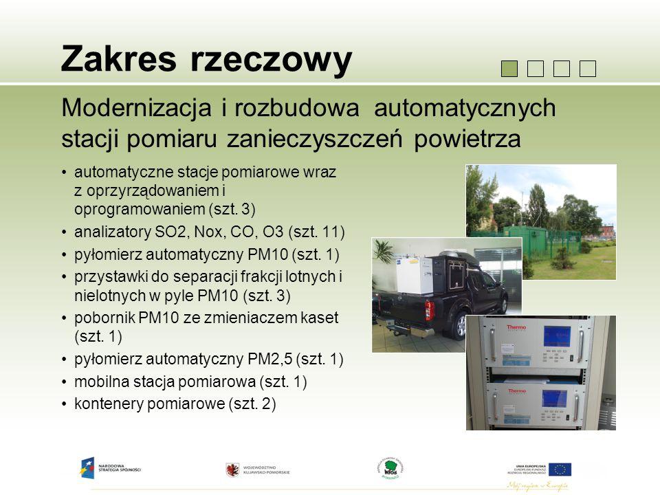 Zakres rzeczowy Modernizacja i rozbudowa automatycznych stacji pomiaru zanieczyszczeń powietrza automatyczne stacje pomiarowe wraz z oprzyrządowaniem i oprogramowaniem (szt.