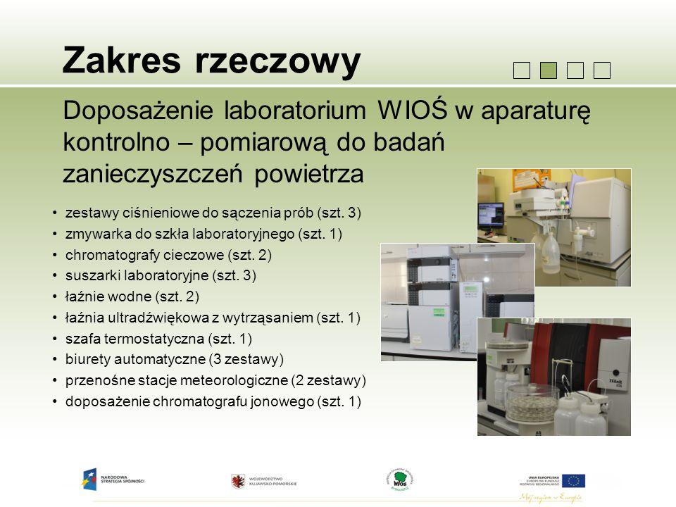 Zakres rzeczowy Doposażenie laboratorium WIOŚ w aparaturę kontrolno – pomiarową do badań zanieczyszczeń powietrza zestawy ciśnieniowe do sączenia prób