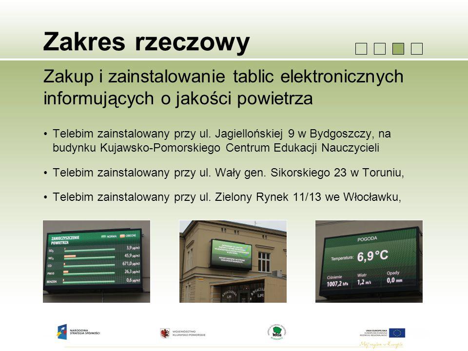 Zakres rzeczowy Zakup i zainstalowanie tablic elektronicznych informujących o jakości powietrza Telebim zainstalowany przy ul. Jagiellońskiej 9 w Bydg