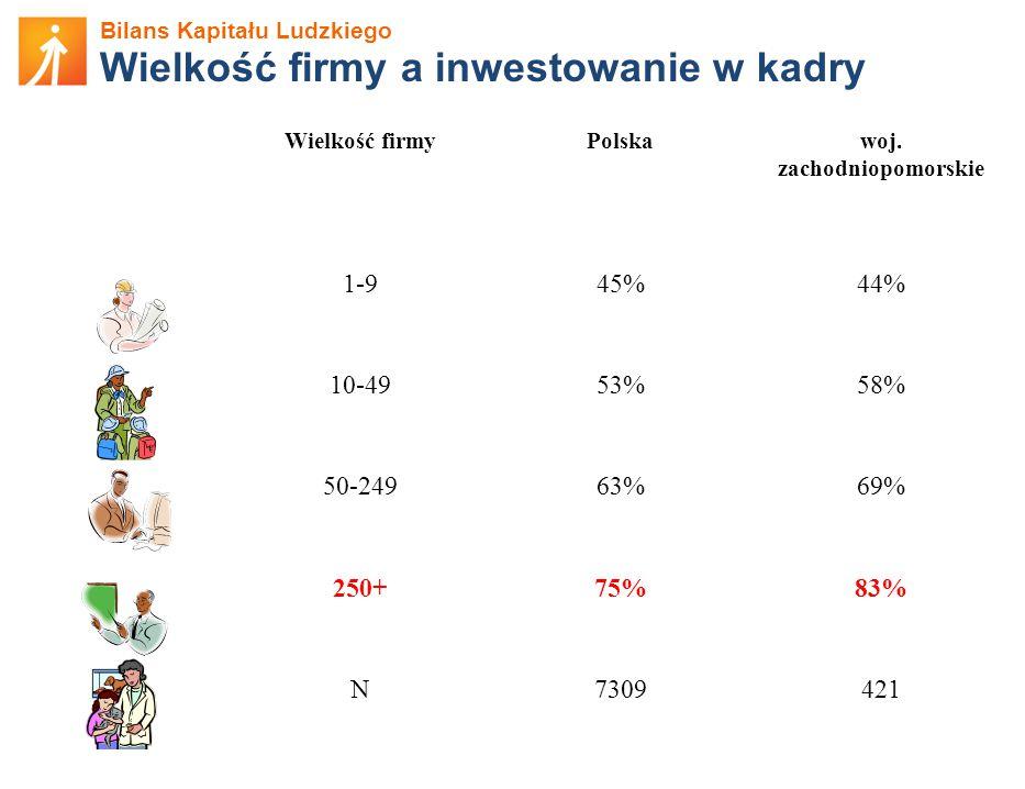 Bilans Kapitału Ludzkiego Wielkość firmy a inwestowanie w kadry Wielkość firmyPolskawoj. zachodniopomorskie 1-945%44% 10-4953%58% 50-24963%69% 250+75%