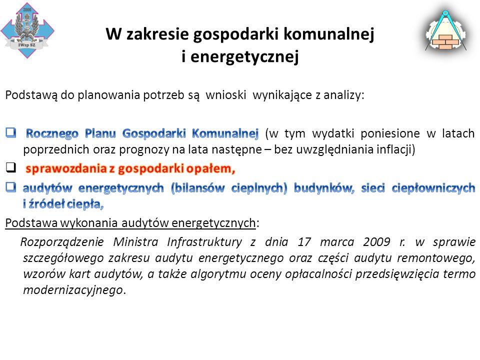W zakresie gospodarki komunalnej i energetycznej